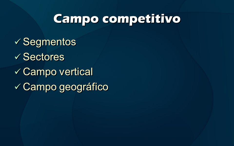 Campo competitivo Segmentos Sectores Campo vertical Campo geográfico Segmentos Sectores Campo vertical Campo geográfico