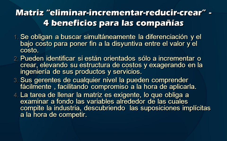 Matriz eliminar-incrementar-reducir-crear - 4 beneficios para las compañías 1. Se obligan a buscar simultáneamente la diferenciación y el bajo costo p