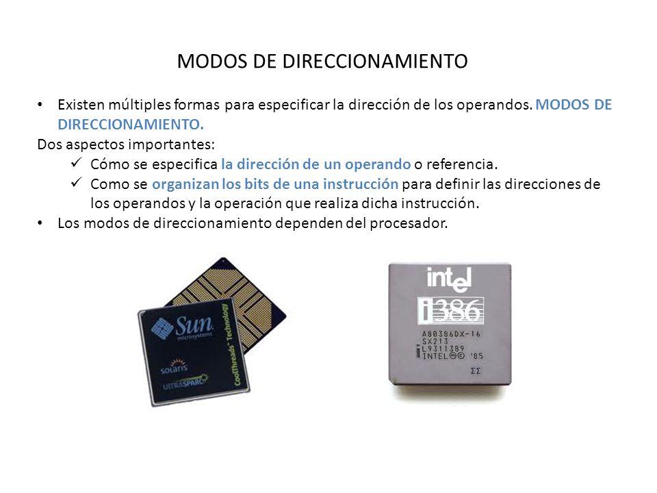 MODOS DE DIRECCIONAMIENTO Existen múltiples formas para especificar la dirección de los operandos.