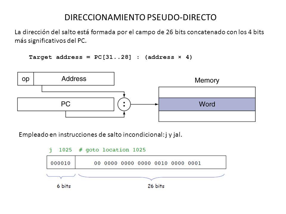 DIRECCIONAMIENTO PSEUDO-DIRECTO La dirección del salto está formada por el campo de 26 bits concatenado con los 4 bits más significativos del PC.