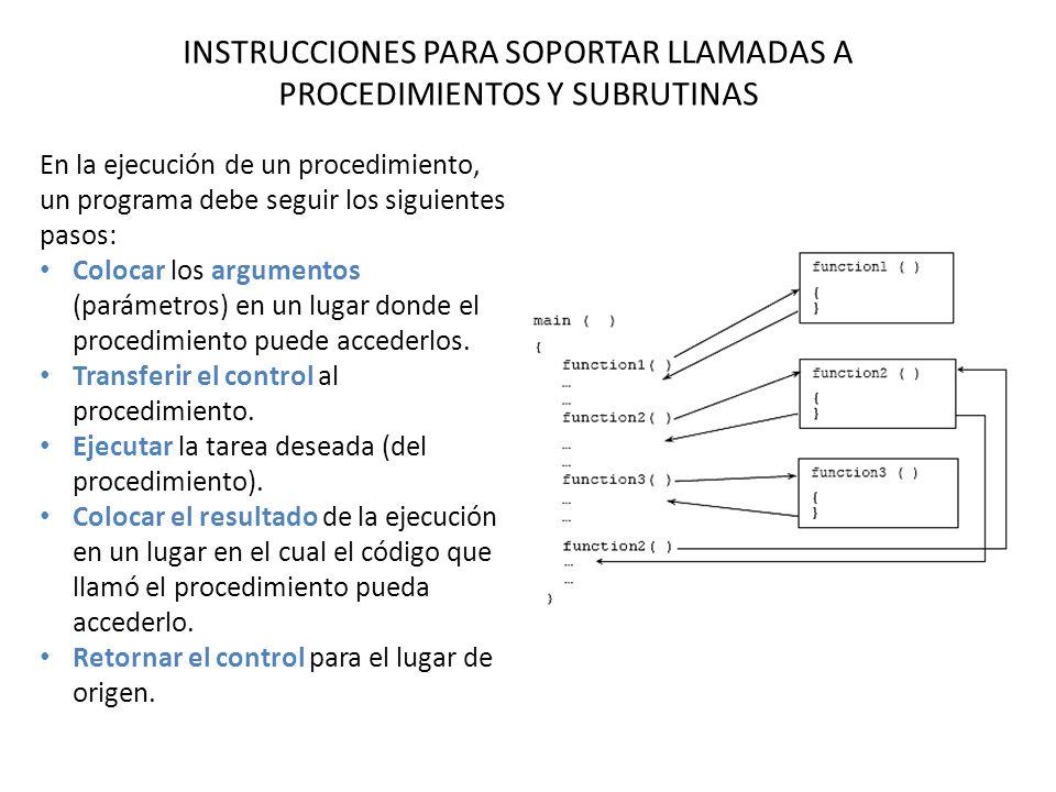INSTRUCCIONES PARA SOPORTAR LLAMADAS A PROCEDIMIENTOS Y SUBRUTINAS En la ejecución de un procedimiento, un programa debe seguir los siguientes pasos: Colocar los argumentos (parámetros) en un lugar donde el procedimiento puede accederlos.