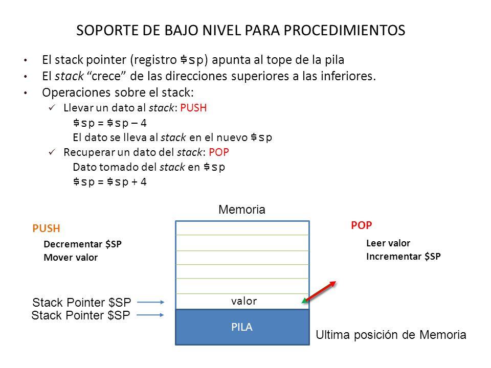 SOPORTE DE BAJO NIVEL PARA PROCEDIMIENTOS El stack pointer (registro $sp ) apunta al tope de la pila El stack crece de las direcciones superiores a las inferiores.