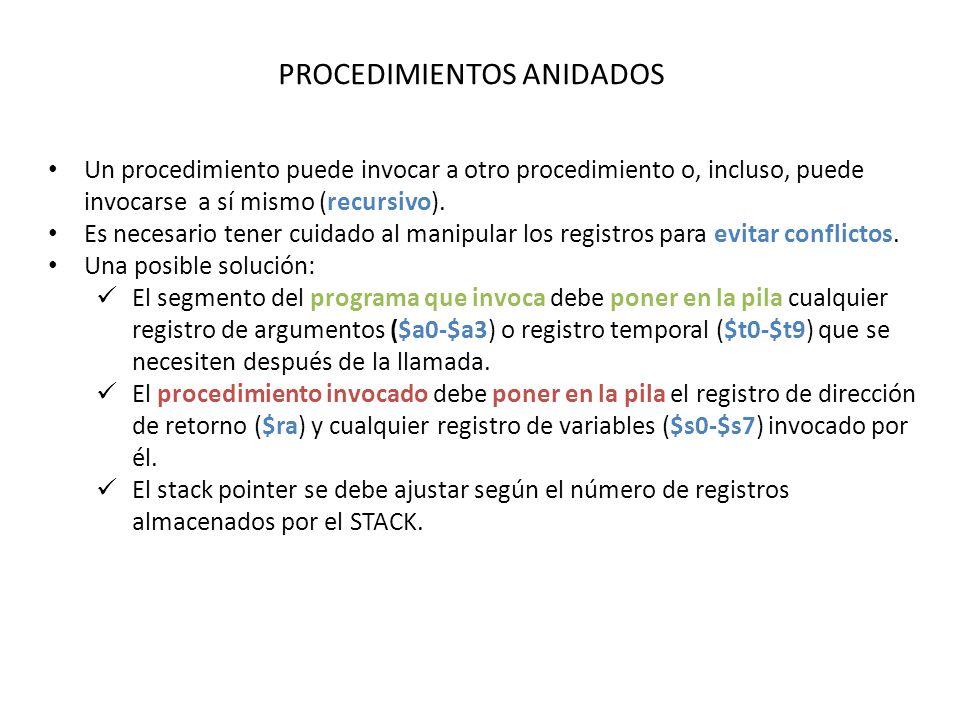 PROCEDIMIENTOS ANIDADOS Un procedimiento puede invocar a otro procedimiento o, incluso, puede invocarse a sí mismo (recursivo).