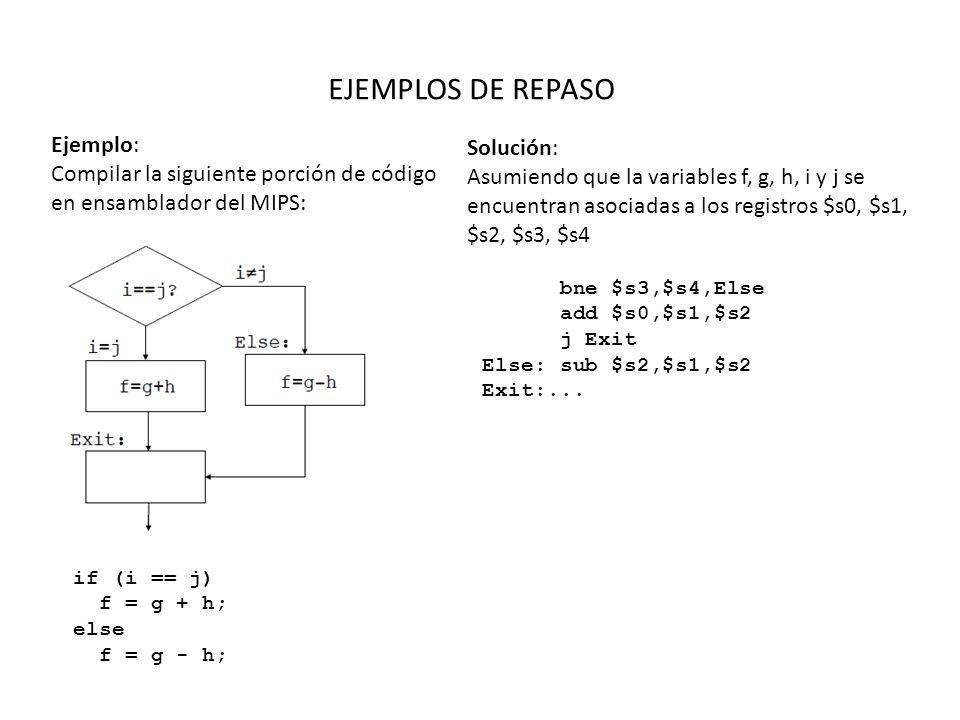 EJEMPLOS DE REPASO Ejemplo: Compilar la siguiente porción de código en ensamblador del MIPS: while(save[i] == k) i += 1; Solución: Asumiendo que la variables i y k corresponden a los registros $s3 y $s5, y la dirección base de save esta en $s6 Loop: add $t1,$s3,$s3 add $t1,$t0,$t0 add $t1,$t0,$s6 lw $t0,0($t1) bne $t0,$s5,Exit addi $s3,$s3,1 j loop Exit:...