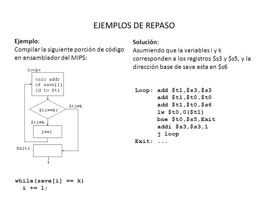 suma_rec:addi $sp, $sp, -8 sw $ra, 4($sp) sw $a0, 0($sp) slti $t0, $a0, 1 beq $t0, $zero, L1 addi $v0, $zero, 0 addi $sp, $sp, 8 jr $ra L1: addi $a0, $a0, -1 jal suma_rec Ri: lw $a0, 0($sp) lw $ra, 4($sp) addi $sp, $sp, 8 add $v0, $a0, $v0 jr $ra suma_recursiva Simulación $a0 = 1 $ra = Ri $v0 = 0 Contenido de $a0 (n=0) Contenido de $ra (Ri) Contenido de $a0 (n=1) Contenido de $ra (Ri) Contenido de $a0 (n=2) Contenido de $ra (Ri) Contenido de $a0 (n=3) Contenido de $ra (X) PILA $SP