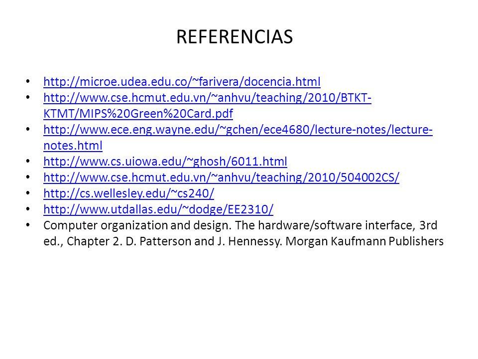 REFERENCIAS http://microe.udea.edu.co/~farivera/docencia.html http://www.cse.hcmut.edu.vn/~anhvu/teaching/2010/BTKT- KTMT/MIPS%20Green%20Card.pdf http://www.cse.hcmut.edu.vn/~anhvu/teaching/2010/BTKT- KTMT/MIPS%20Green%20Card.pdf http://www.ece.eng.wayne.edu/~gchen/ece4680/lecture-notes/lecture- notes.html http://www.ece.eng.wayne.edu/~gchen/ece4680/lecture-notes/lecture- notes.html http://www.cs.uiowa.edu/~ghosh/6011.html http://www.cse.hcmut.edu.vn/~anhvu/teaching/2010/504002CS/ http://cs.wellesley.edu/~cs240/ http://www.utdallas.edu/~dodge/EE2310/ Computer organization and design.