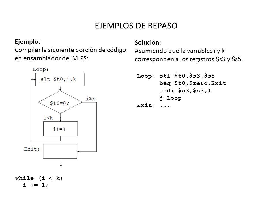 EJEMPLOS DE REPASO Ejemplo: Compilar la siguiente porción de código en ensamblador del MIPS: while (i < k) i += 1; Solución: Asumiendo que la variables i y k corresponden a los registros $s3 y $s5.