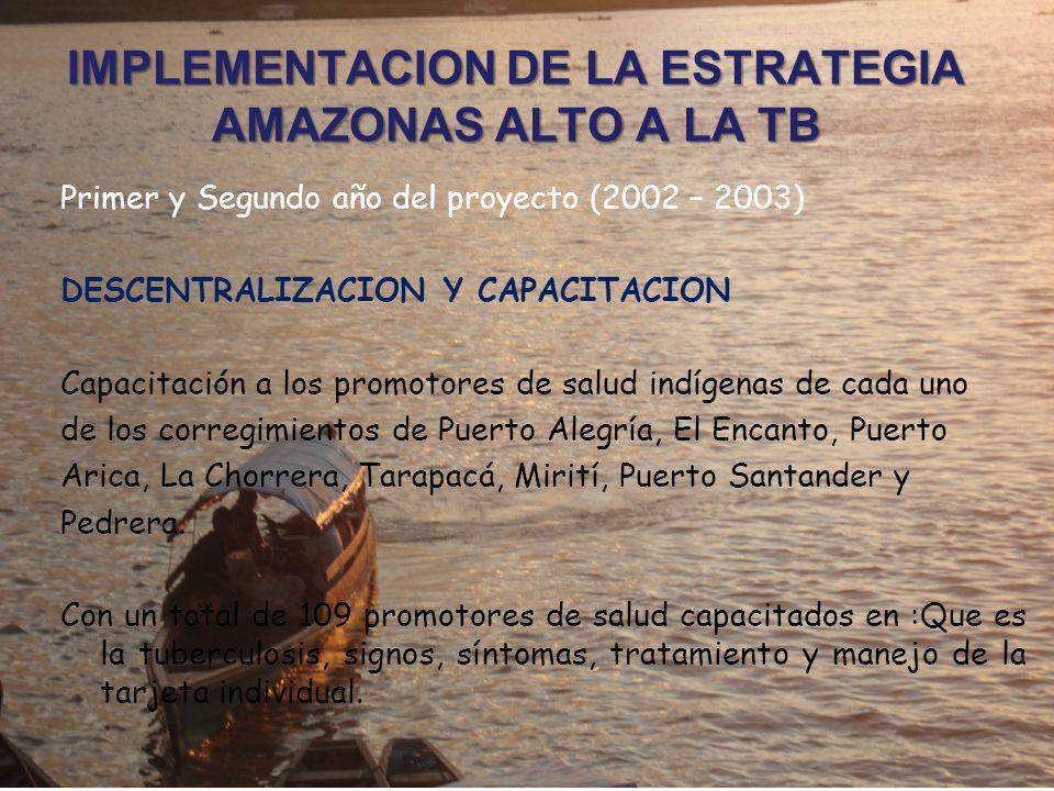 Primer y Segundo año del proyecto (2002 – 2003) DESCENTRALIZACION Y CAPACITACION Capacitación a los promotores de salud indígenas de cada uno de los corregimientos de Puerto Alegría, El Encanto, Puerto Arica, La Chorrera, Tarapacá, Mirití, Puerto Santander y Pedrera.