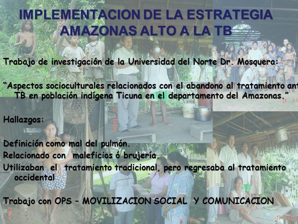 Cuarto año del proyecto (2005) – SEGUIMIENTO A PROMOTORES INDIGENAS Y ACERCAMIENTO A LA ETNIA TICUNA Capacitación a los promotores del municipio de Leticia y Puerto Nariño.