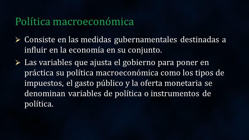 Corto plazo Largo plazo Objetivos Control Inflación Disminuir Desempleo Equilibrio Balanza de Pagos Crecimiento Económico Distribución del ingreso Satisfacer necesidades básicas Política económica