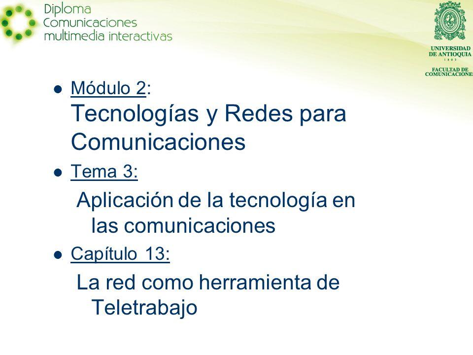 Módulo 2: Tecnologías y Redes para Comunicaciones Tema 3: Aplicación de la tecnología en las comunicaciones Capítulo 13: La red como herramienta de Teletrabajo