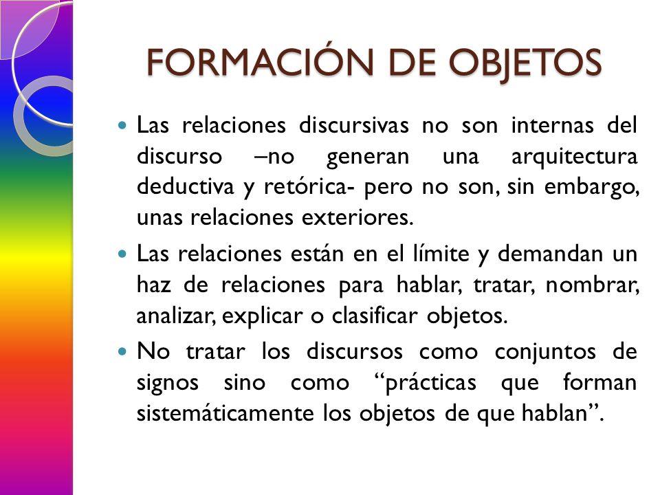 Las relaciones discursivas no son internas del discurso –no generan una arquitectura deductiva y retórica- pero no son, sin embargo, unas relaciones exteriores.