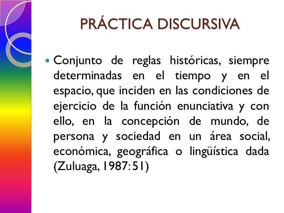 PRÁCTICA DISCURSIVA Conjunto de reglas históricas, siempre determinadas en el tiempo y en el espacio, que inciden en las condiciones de ejercicio de la función enunciativa y con ello, en la concepción de mundo, de persona y sociedad en un área social, económica, geográfica o lingüística dada (Zuluaga, 1987: 51)