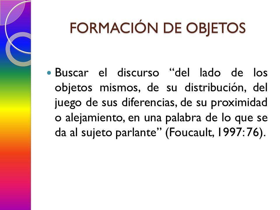 FORMACIÓN DE OBJETOS Buscar el discurso del lado de los objetos mismos, de su distribución, del juego de sus diferencias, de su proximidad o alejamiento, en una palabra de lo que se da al sujeto parlante (Foucault, 1997: 76).
