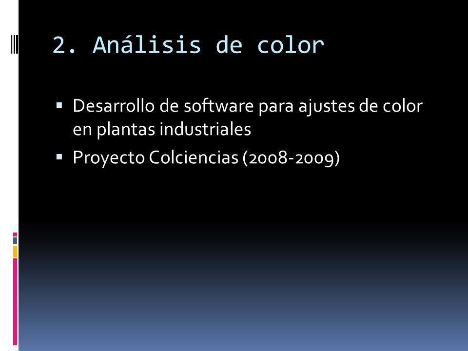 2. Análisis de color Desarrollo de software para ajustes de color en plantas industriales Proyecto Colciencias (2008-2009)