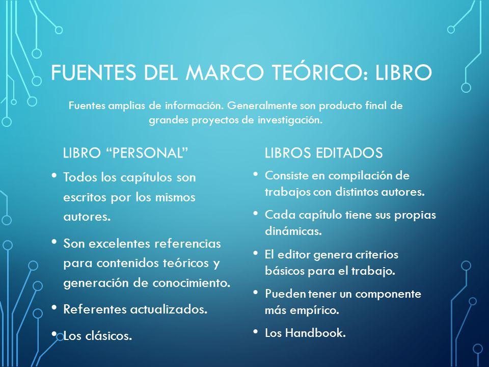 FUENTES DEL MARCO TEÓRICO: LIBRO LIBRO PERSONAL Todos los capítulos son escritos por los mismos autores.