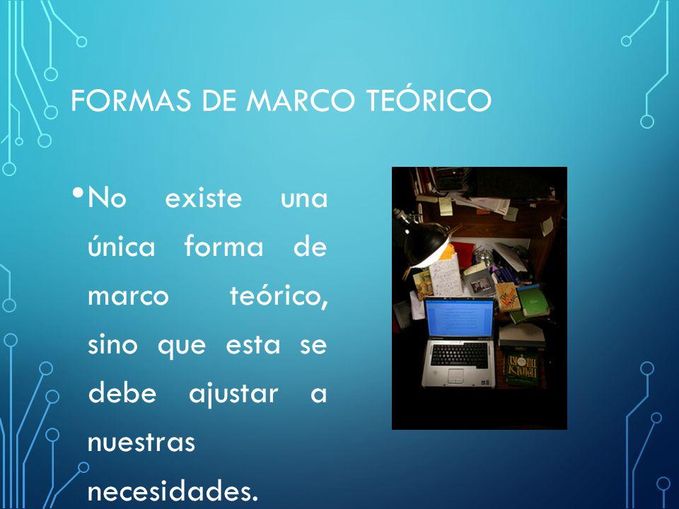FORMAS DE MARCO TEÓRICO No existe una única forma de marco teórico, sino que esta se debe ajustar a nuestras necesidades.