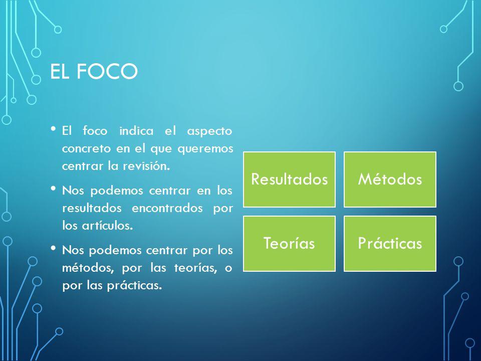 EL FOCO El foco indica el aspecto concreto en el que queremos centrar la revisión.