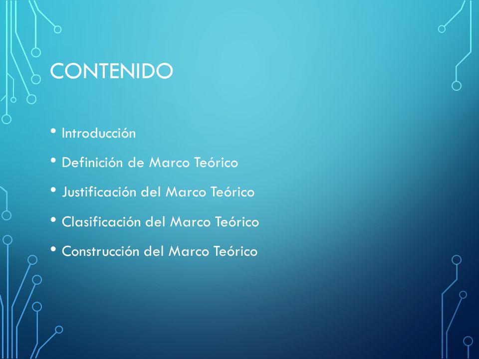 CONTENIDO Introducción Definición de Marco Teórico Justificación del Marco Teórico Clasificación del Marco Teórico Construcción del Marco Teórico