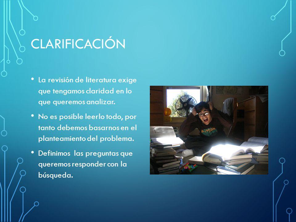 CLARIFICACIÓN La revisión de literatura exige que tengamos claridad en lo que queremos analizar.