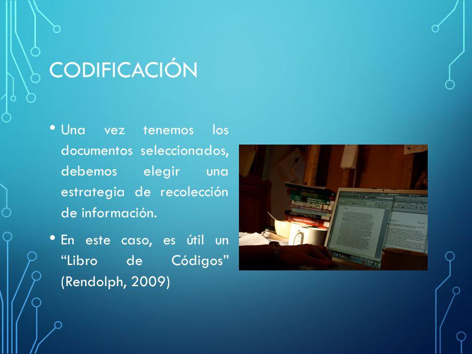 CODIFICACIÓN Una vez tenemos los documentos seleccionados, debemos elegir una estrategia de recolección de información.