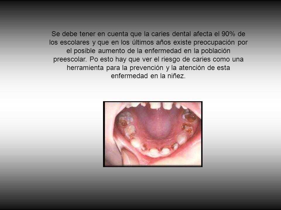 Se debe tener en cuenta que la caries dental afecta el 90% de los escolares y que en los últimos años existe preocupación por el posible aumento de la enfermedad en la población preescolar.