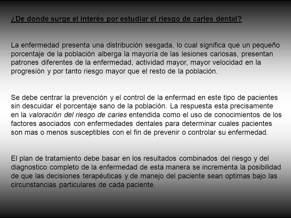 Posibles indicadores de riesgo de caries El papel de la microflora: tradicionalmente se a identificado el papel de microorganismos como el S.