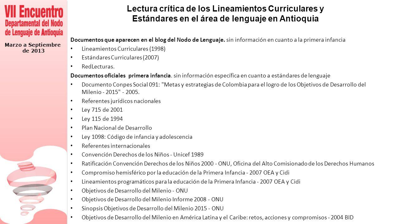 Marzo a Septiembre de 2013 Problemas teórico-prácticos a los que responde la propuesta Cómo abordar una lectura critica del documento Desarrollo Infantil y Competencias en la primera infancia (Doc.