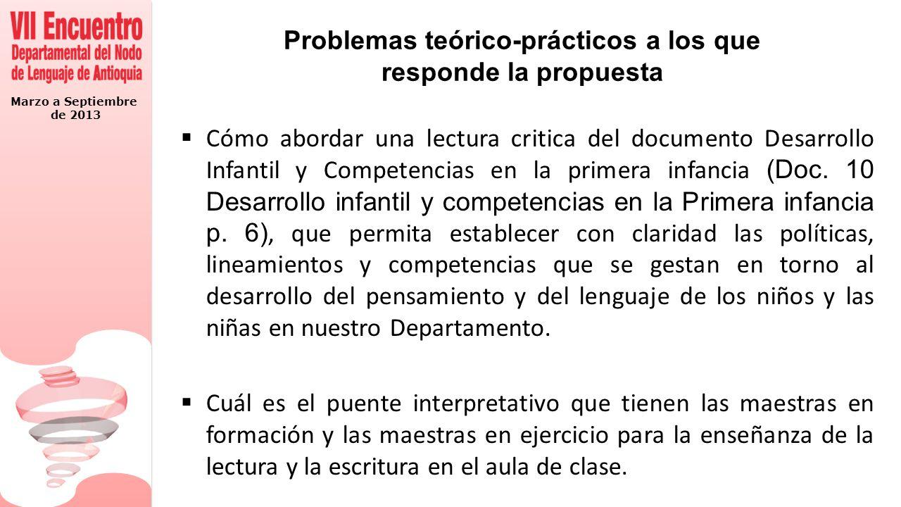 Marzo a Septiembre de 2013 Preguntas para la discusión 1.¿existe coherencia entre los programas de formación y desarrollo que ofrecen a las madres gestantes y los planteamientos de las políticas publicas y directrices educativas para el desarrollo del lenguaje en la primera infancia.
