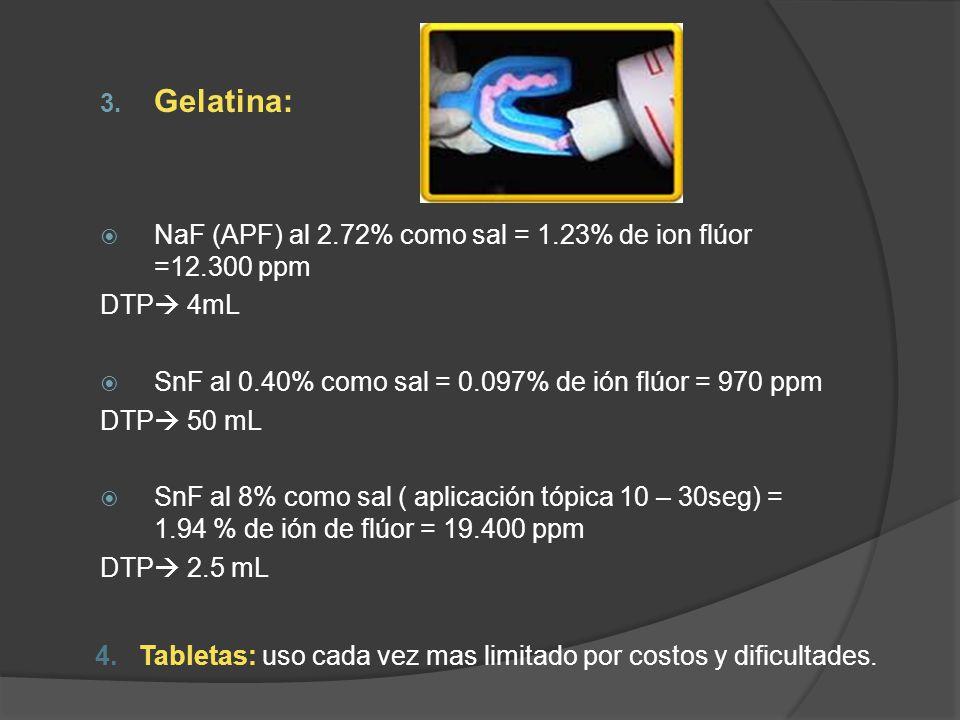 4. Tabletas: uso cada vez mas limitado por costos y dificultades. 3. Gelatina: NaF (APF) al 2.72% como sal = 1.23% de ion flúor =12.300 ppm DTP 4mL Sn