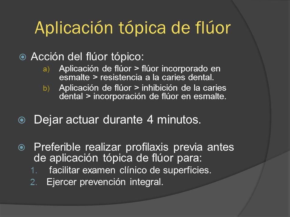 Aplicación tópica de flúor Acción del flúor tópico: a) Aplicación de flúor > flúor incorporado en esmalte > resistencia a la caries dental. b) Aplicac