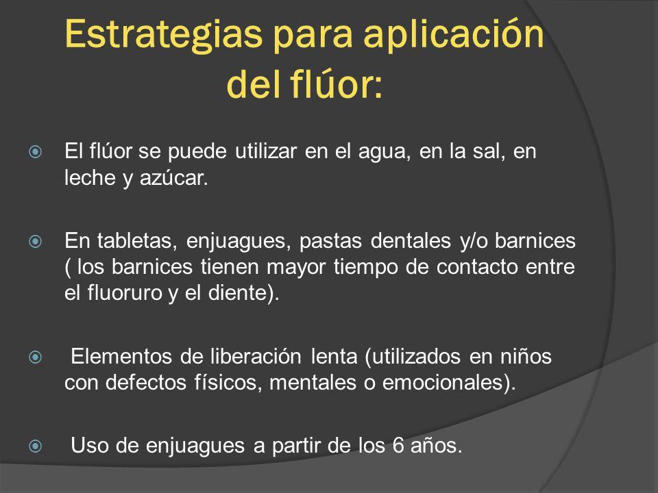 Estrategias para aplicación del flúor: El flúor se puede utilizar en el agua, en la sal, en leche y azúcar. En tabletas, enjuagues, pastas dentales y/