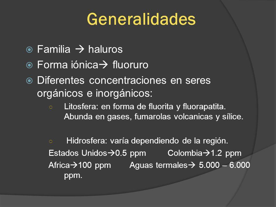 Generalidades Familia haluros Forma iónica fluoruro Diferentes concentraciones en seres orgánicos e inorgánicos: Litosfera: en forma de fluorita y flu