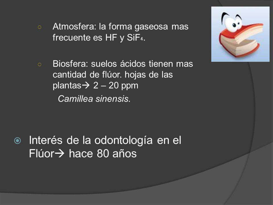 Atmosfera: la forma gaseosa mas frecuente es HF y SiF 4. Biosfera: suelos ácidos tienen mas cantidad de flúor. hojas de las plantas 2 – 20 ppm Camille