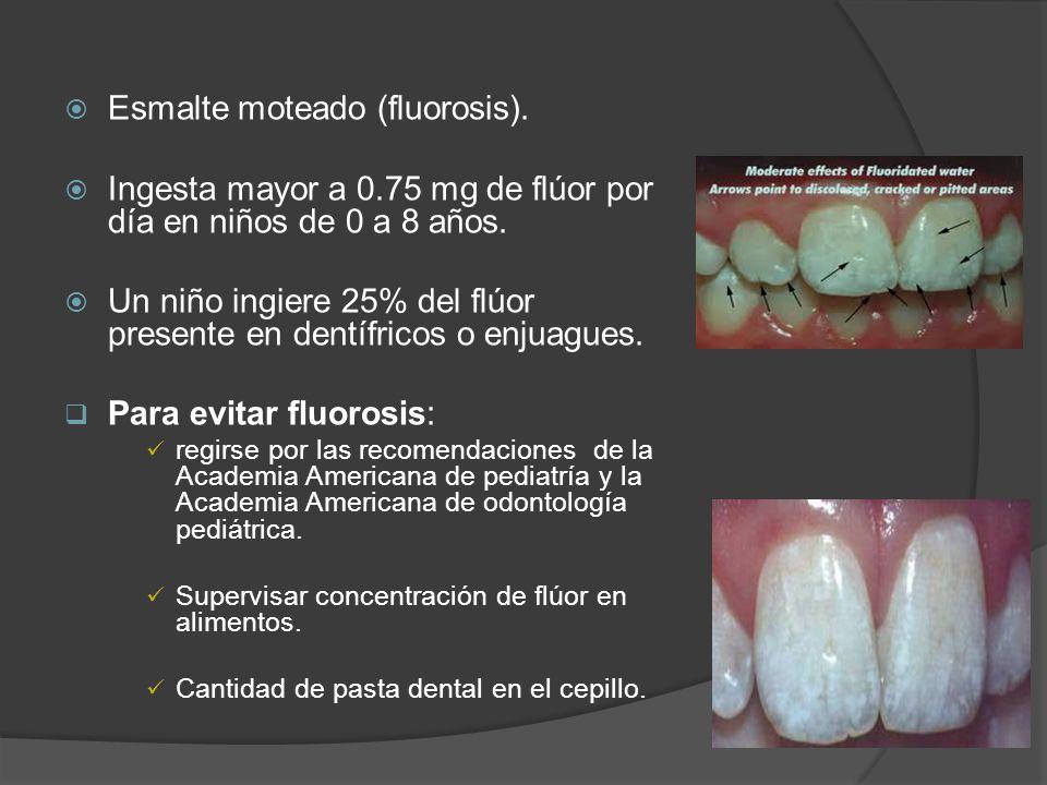 Esmalte moteado (fluorosis). Ingesta mayor a 0.75 mg de flúor por día en niños de 0 a 8 años. Un niño ingiere 25% del flúor presente en dentífricos o