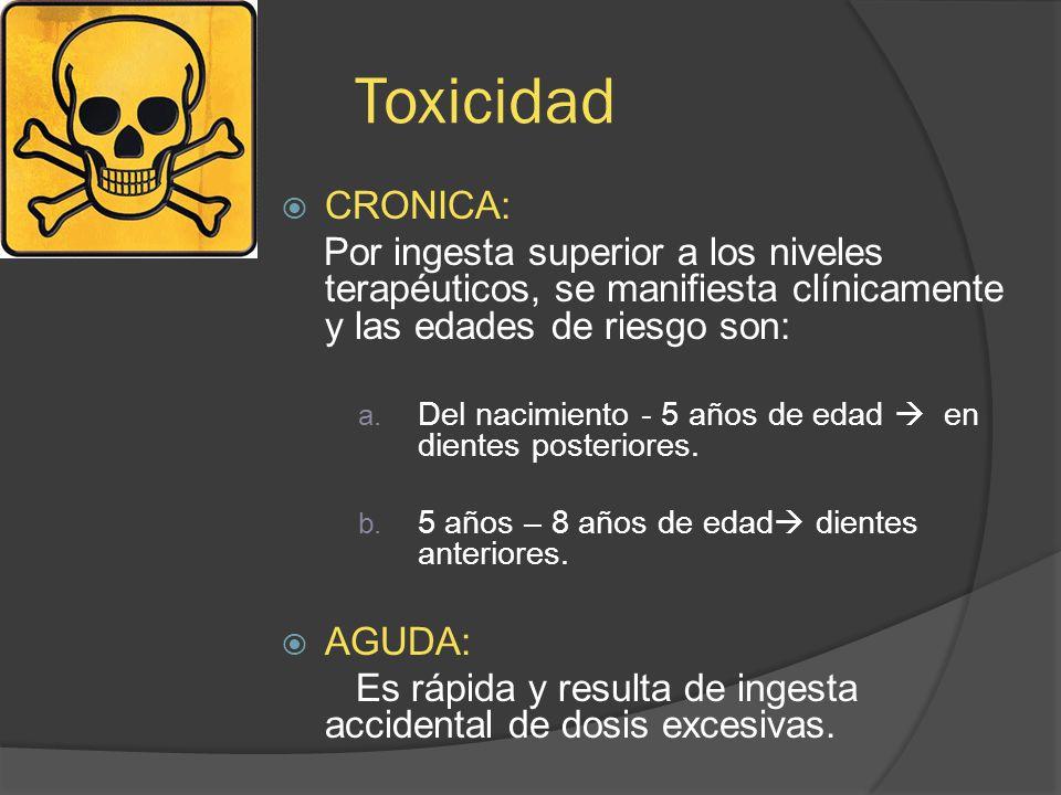 Toxicidad CRONICA: Por ingesta superior a los niveles terapéuticos, se manifiesta clínicamente y las edades de riesgo son: a. Del nacimiento - 5 años