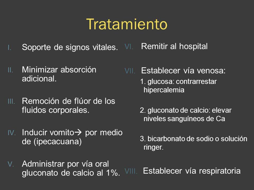 Tratamiento I. Soporte de signos vitales. II. Minimizar absorción adicional. III. Remoción de flúor de los fluidos corporales. IV. Inducir vomito por
