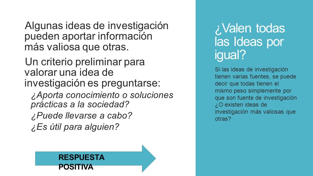 ¿Valen todas las Ideas por igual? Algunas ideas de investigación pueden aportar información más valiosa que otras. Un criterio preliminar para valorar