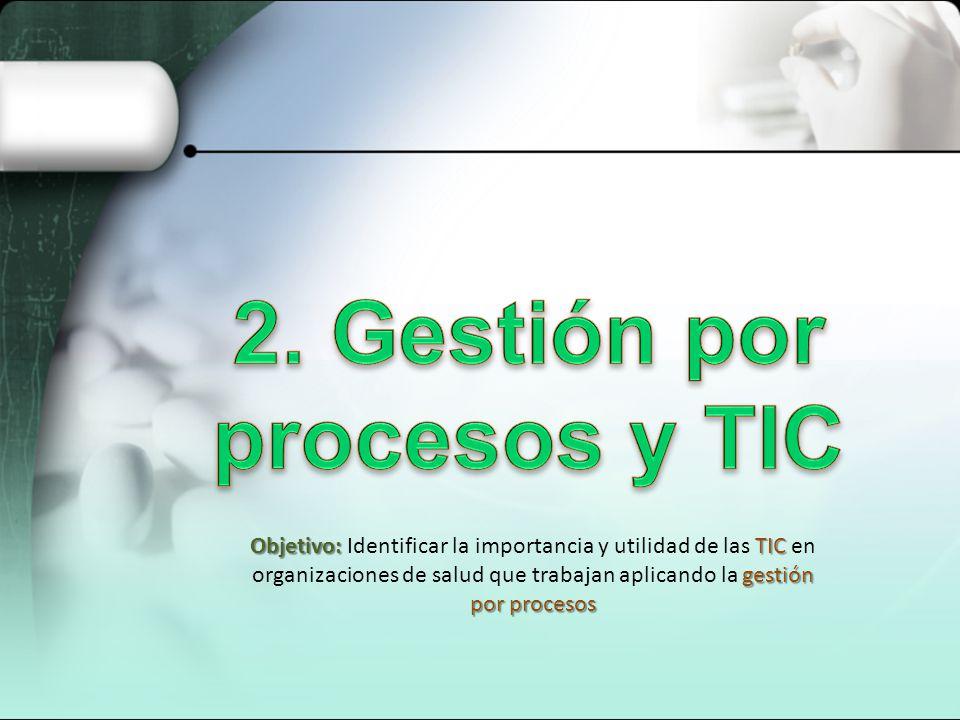 Objetivo: TIC gestión por procesos Objetivo: Identificar la importancia y utilidad de las TIC en organizaciones de salud que trabajan aplicando la ges