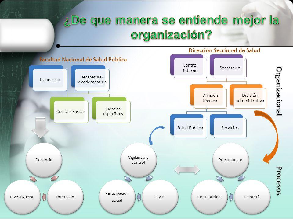 Planeación Decanatura - Vicedecanatura Ciencias Básicas Ciencias Específicas Control interno Secretario División técnica Salud PúblicaServicios Divisi