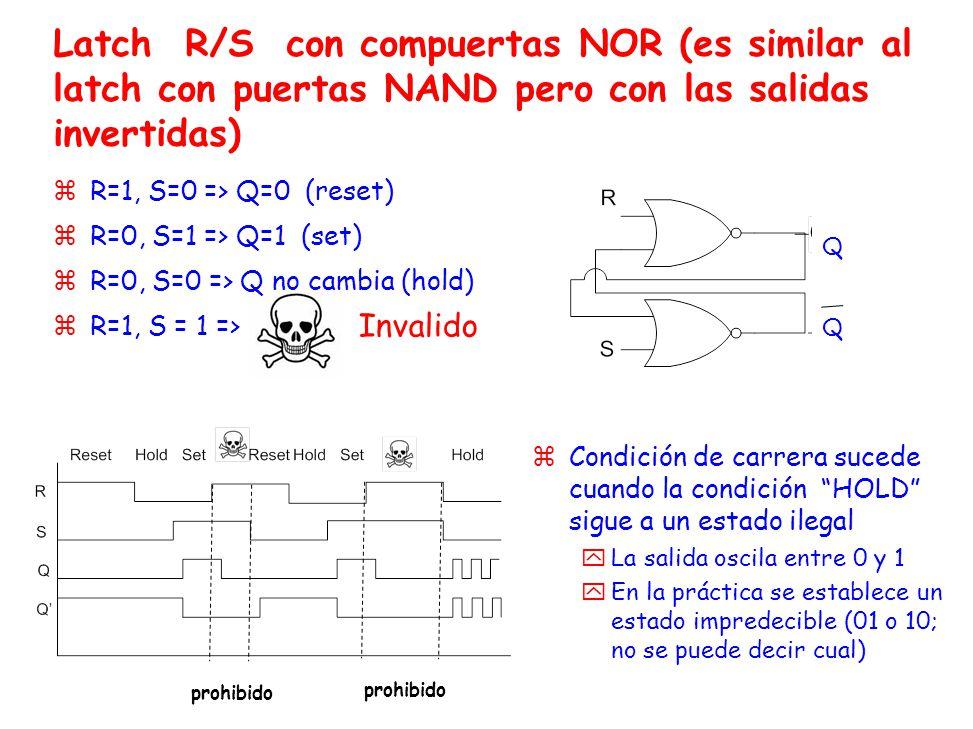 Latch R/S con compuertas NOR (es similar al latch con puertas NAND pero con las salidas invertidas) zR=1, S=0 => Q=0 (reset) zR=0, S=1 => Q=1 (set) zR=0, S=0 => Q no cambia (hold) zR=1, S = 1 => zCondición de carrera sucede cuando la condición HOLD sigue a un estado ilegal yLa salida oscila entre 0 y 1 yEn la práctica se establece un estado impredecible (01 o 10; no se puede decir cual) Invalido QQQQ prohibido