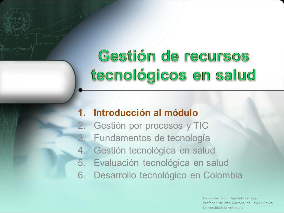 1.Introducción al módulo 2.Gestión por procesos y TIC 3.Fundamentos de tecnología 4.Gestión tecnológica en salud 5.Evaluación tecnológica en salud 6.D