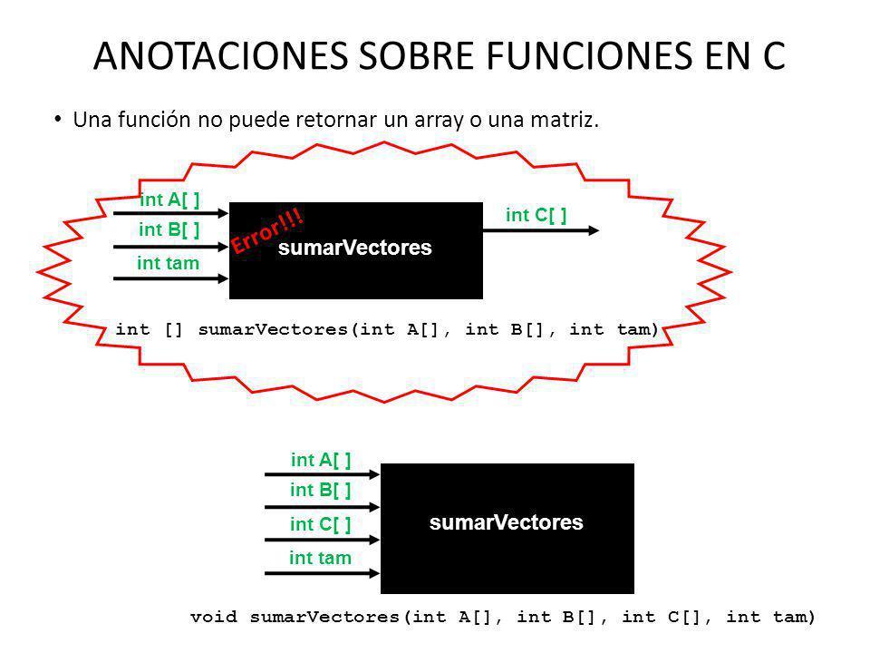 ANOTACIONES SOBRE FUNCIONES EN C Una función no puede retornar un array o una matriz. int C[ ] int B[ ] sumarVectores int [] sumarVectores(int A[], in