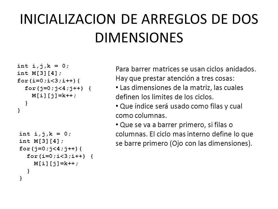 Para barrer matrices se usan ciclos anidados. Hay que prestar atención a tres cosas: Las dimensiones de la matriz, las cuales definen los limites de l