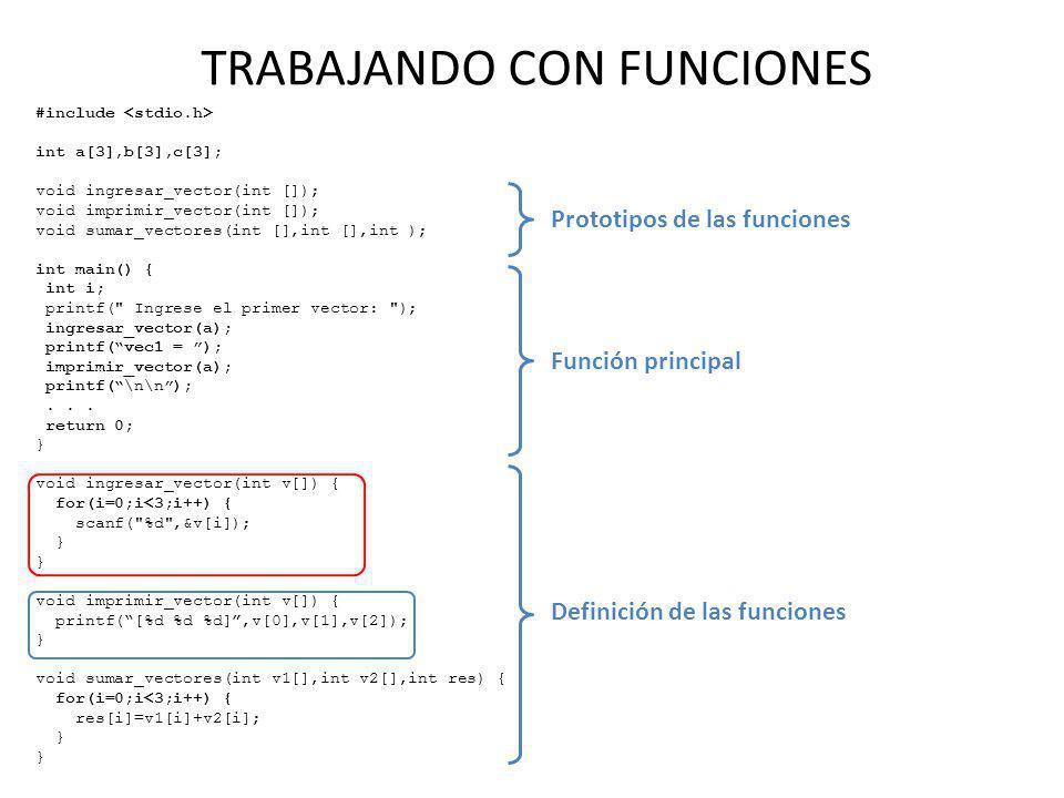 TRABAJANDO CON FUNCIONES #include int a[3],b[3],c[3]; void ingresar_vector(int []); void imprimir_vector(int []); void sumar_vectores(int [],int [],in