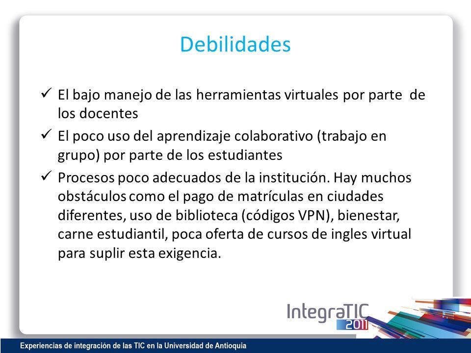 Debilidades El bajo manejo de las herramientas virtuales por parte de los docentes El poco uso del aprendizaje colaborativo (trabajo en grupo) por par