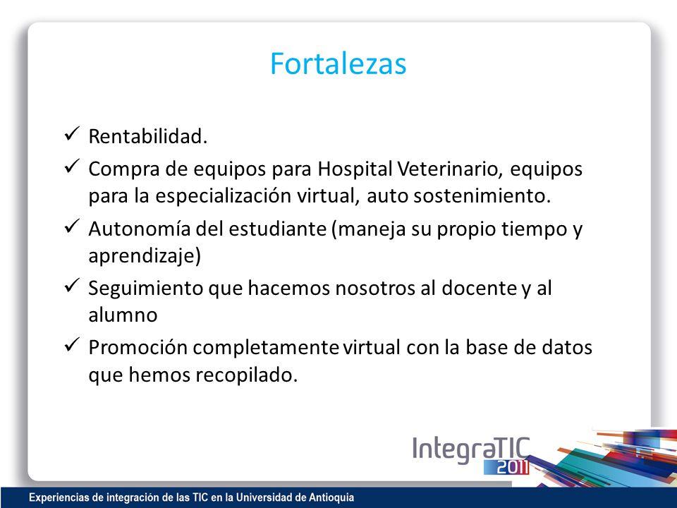 Fortalezas Rentabilidad. Compra de equipos para Hospital Veterinario, equipos para la especialización virtual, auto sostenimiento. Autonomía del estud