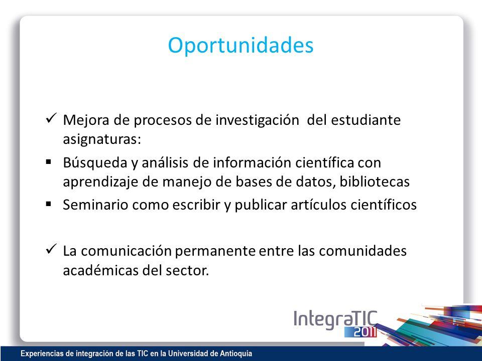 Oportunidades Mejora de procesos de investigación del estudiante asignaturas: Búsqueda y análisis de información científica con aprendizaje de manejo