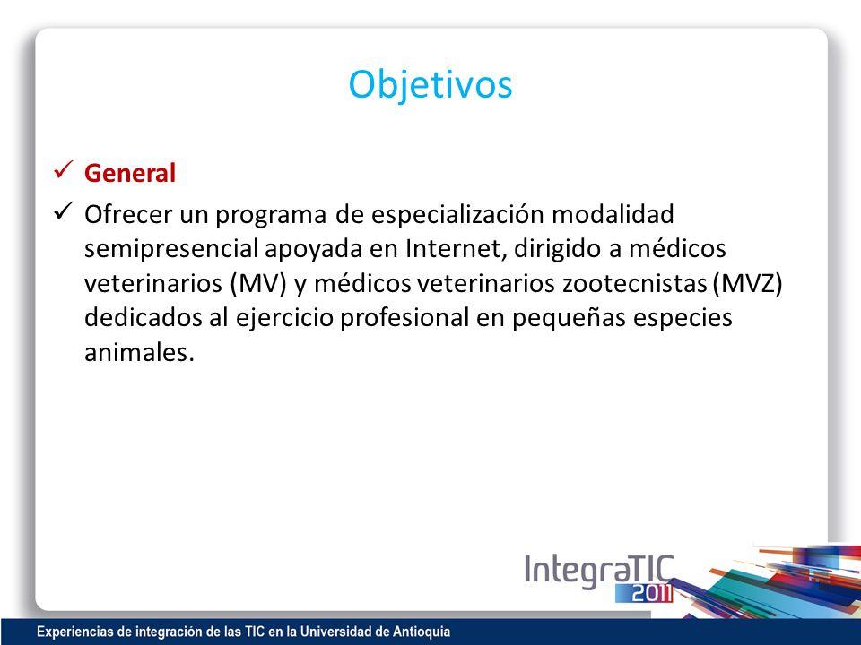 Objetivos General Ofrecer un programa de especialización modalidad semipresencial apoyada en Internet, dirigido a médicos veterinarios (MV) y médicos