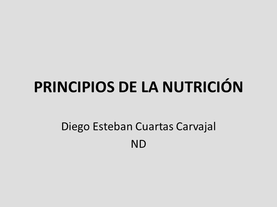 PRINCIPIOS DE LA NUTRICIÓN Diego Esteban Cuartas Carvajal ND
